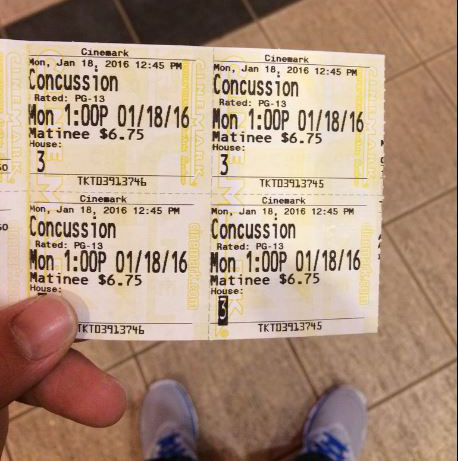 "Our ""Concussion"" tickets from this past Monday."