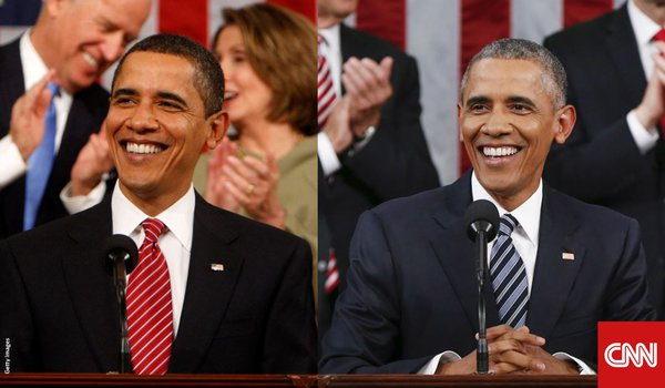 This graphic shows President Obama during his first and last State of the Union addresses.