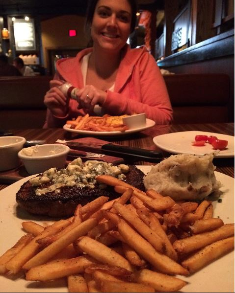 Enjoying dinner at Outback on this past Saturday night.