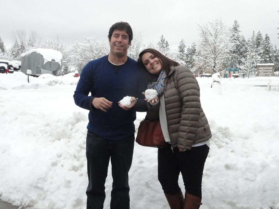 Sidney and I posing in front of the snow on Christmas Day.