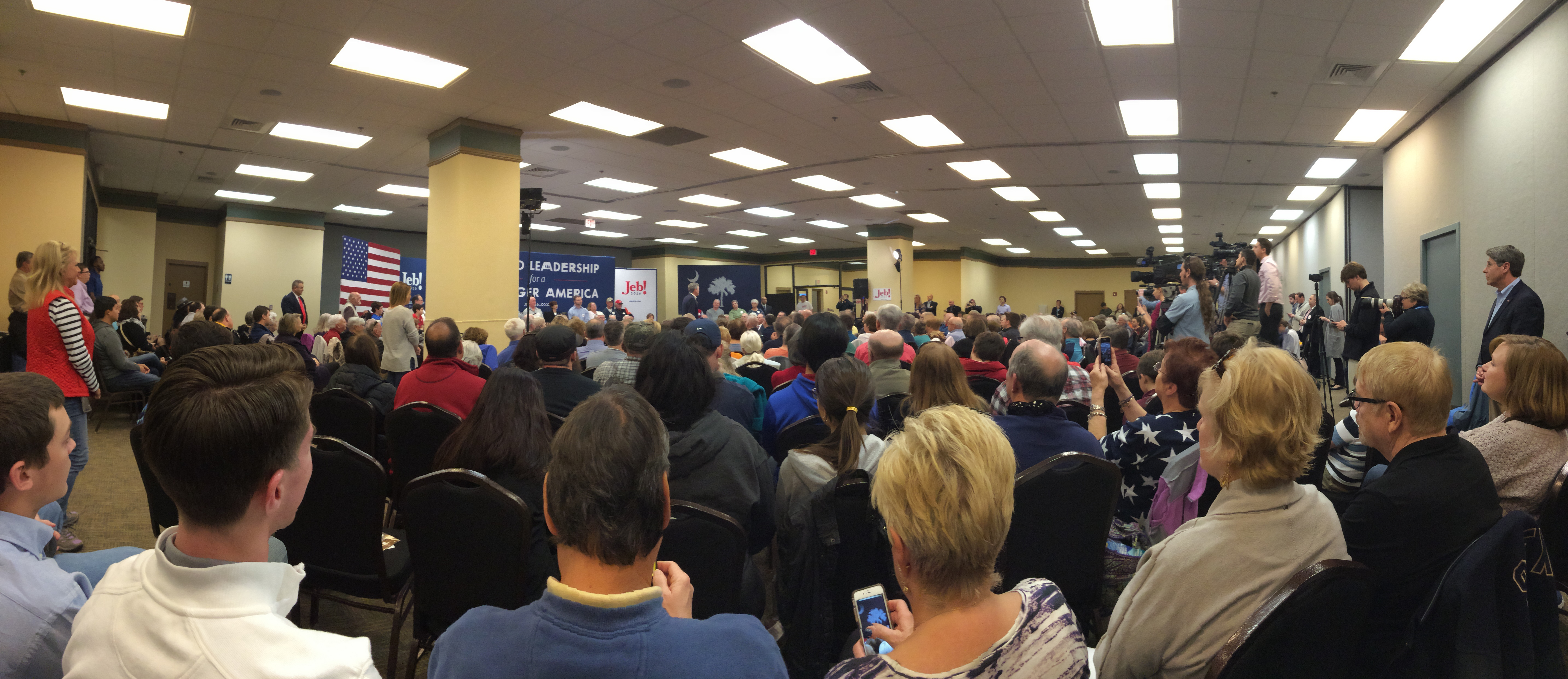 On Wednesday night, Sidney and I went to a town hall for Jeb Bush. I took this panorama a few minutes after Jeb took the stage.