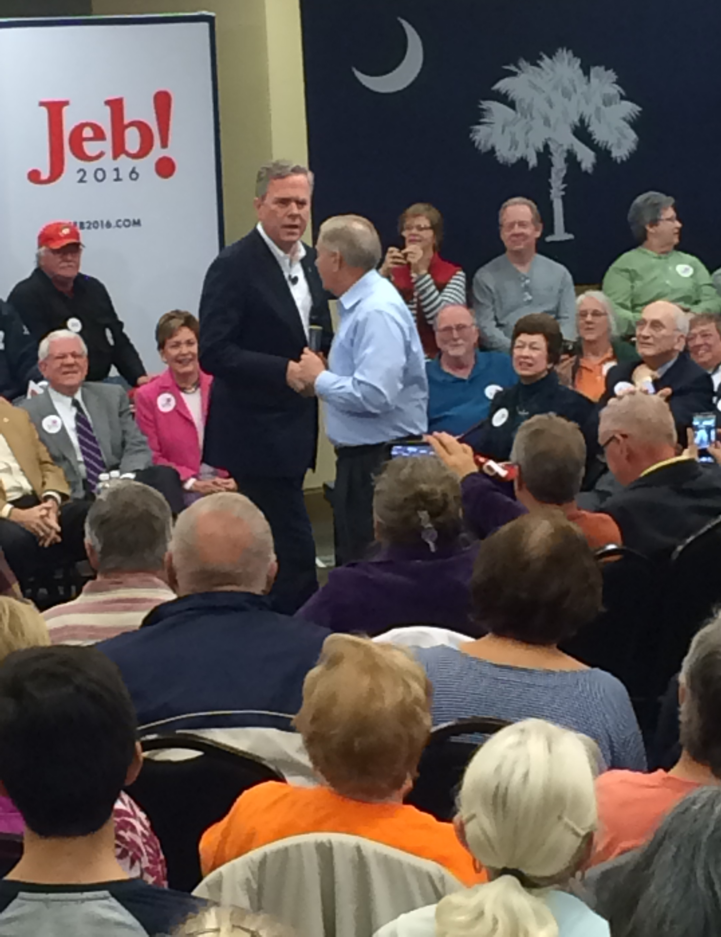 Senator Lindsey Graham turning it over to Jeb Bush.