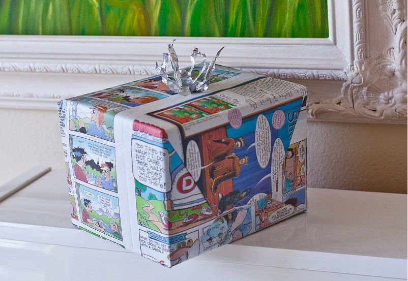 My mom would always wrap the birthday presents we gave to our friends in the comic sections of the newspaper.