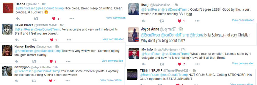JUST A FEW of the tweets I received from random people after I published the post. I received the positive (left) and the negative (right).