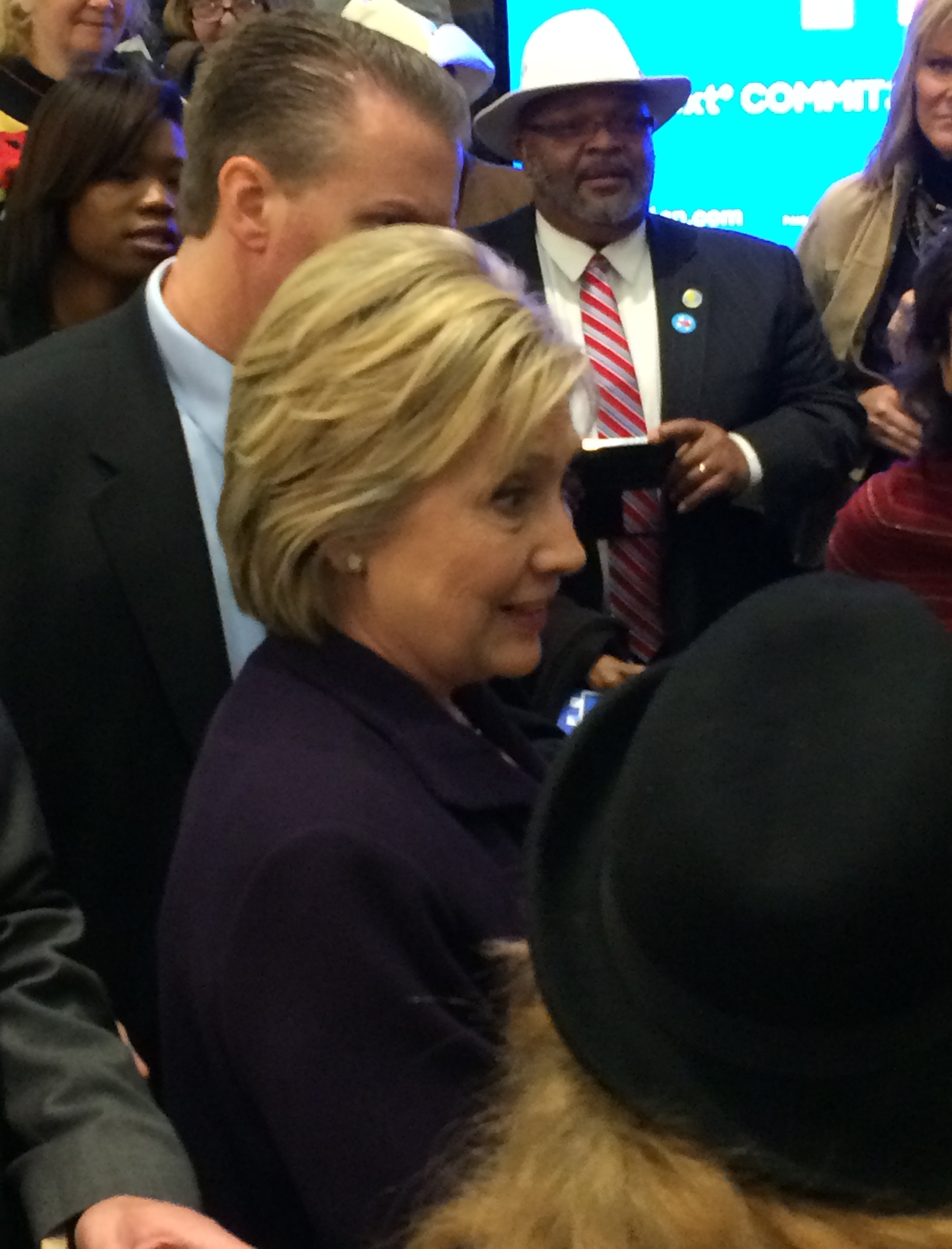 Right before Hillary walked out the door and on to her next campaign stop, I got within feet of her.