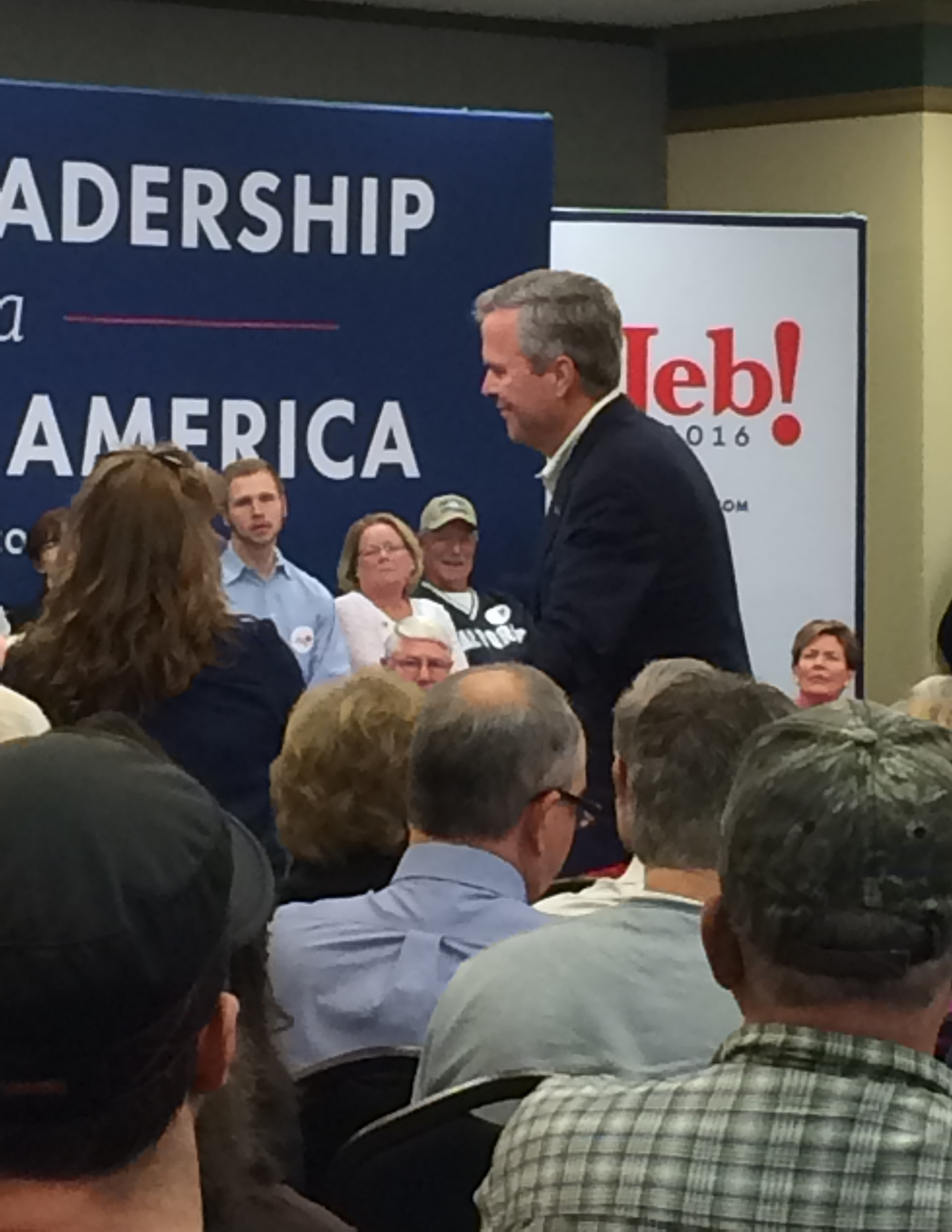 Jeb listening to a question from the audience.