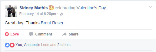 "Here is one of Sid's Facebook status updates that I decided to ""love."""