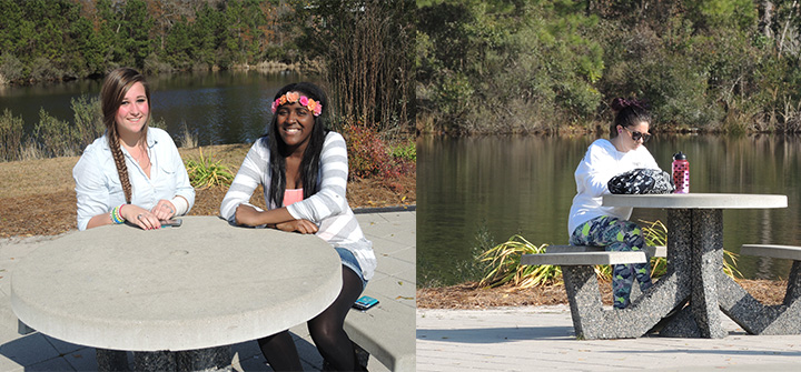 These tables by the pond are prime real estate at Coastal (Jada Bynum took the photo on the right).