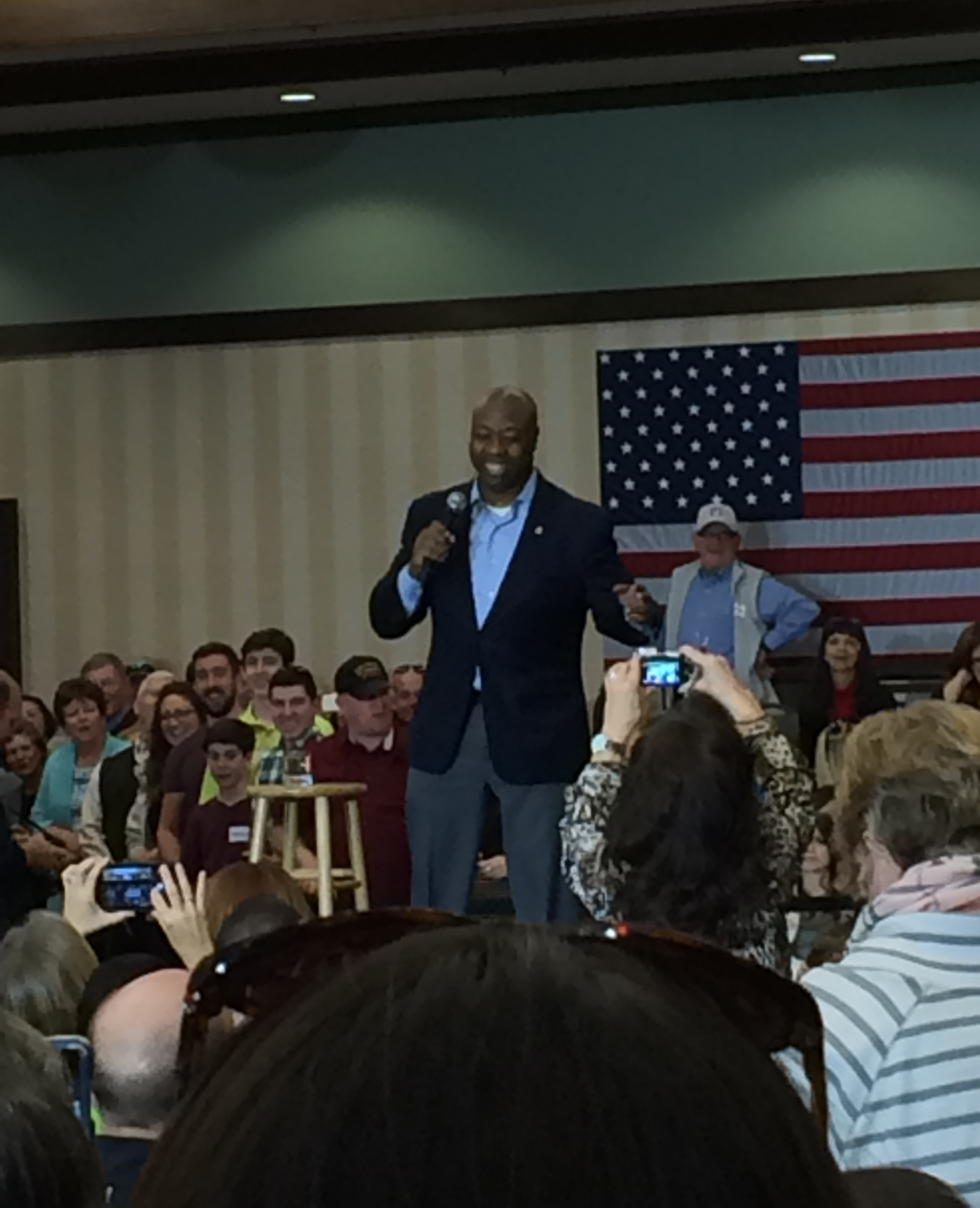 A photo I took of Senator Tim Scott tonight. The guy could really talk!