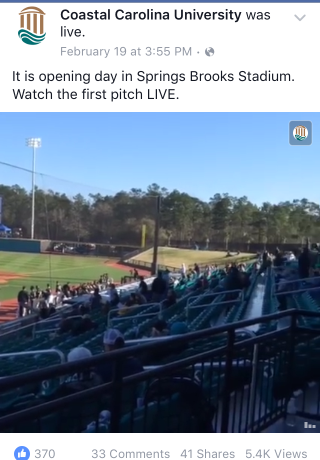 I just took this screen capture from our Coastal Carolina University Facebook page (accessible to all). This is what the Facebook Live platform looks like.