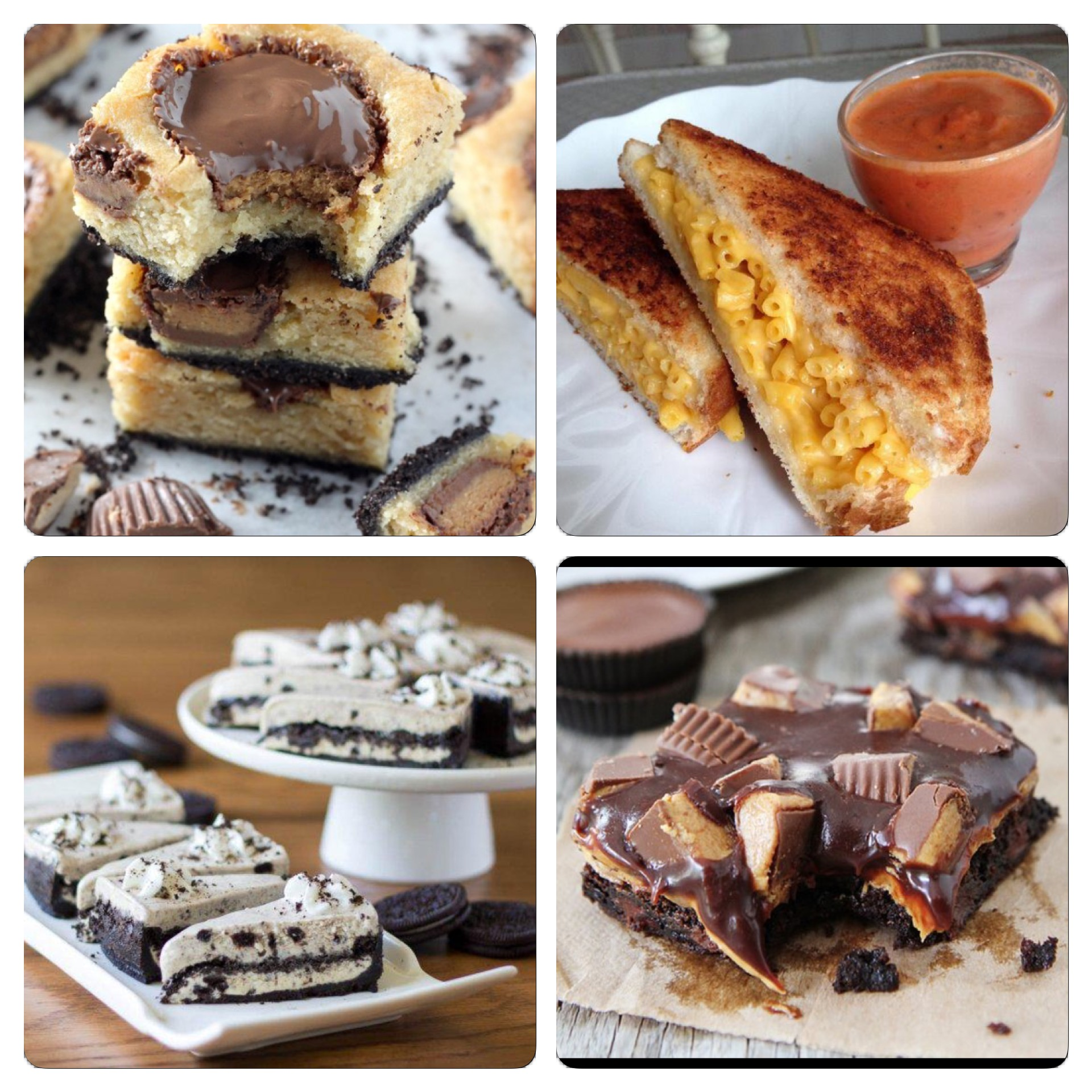 Some of the dishes from @ItsFoodPorn that I have retweeted in the past week....grilled mac and cheese sandwiches, chocolate and peanut butter brownies, Oreo ice cream cake, and black bottom banana peanut butter cup blondies.