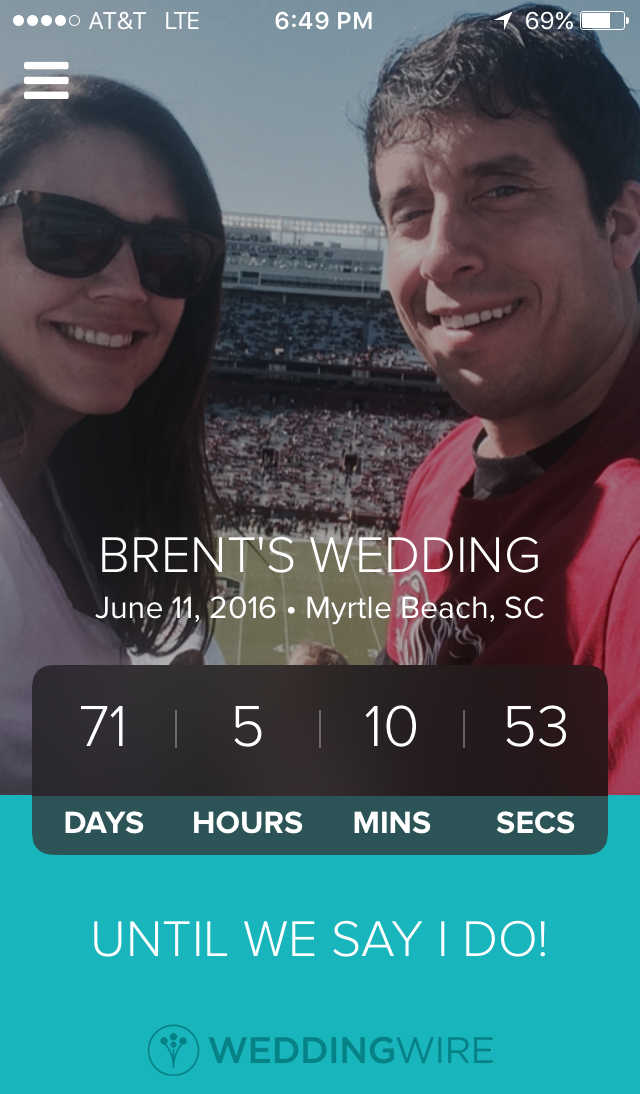 Our latest countdown until our big day. In less than six hours we will be at the 70-day mark.