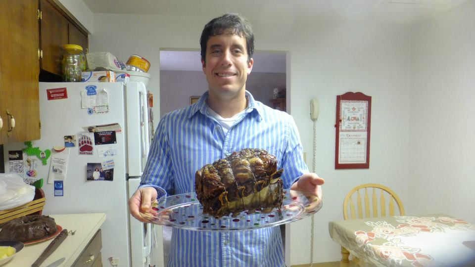 Holding our family's prime rib from a Christmas a few years back. The way to my heart.