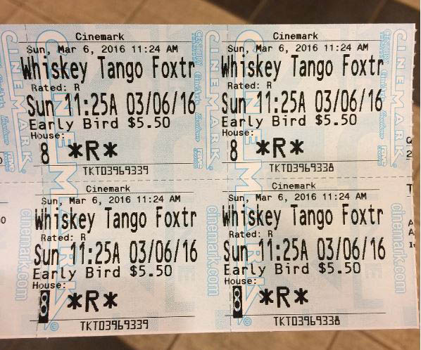"I saw ""Whiskey Tango Foxtrot"" on Sunday."