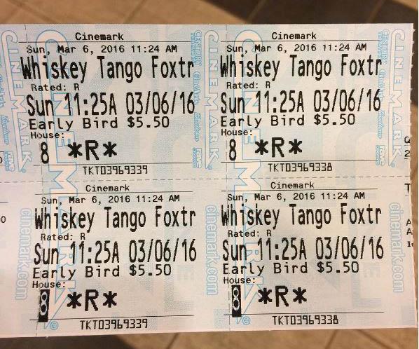 """I saw """"Whiskey Tango Foxtrot"""" on Sunday."""