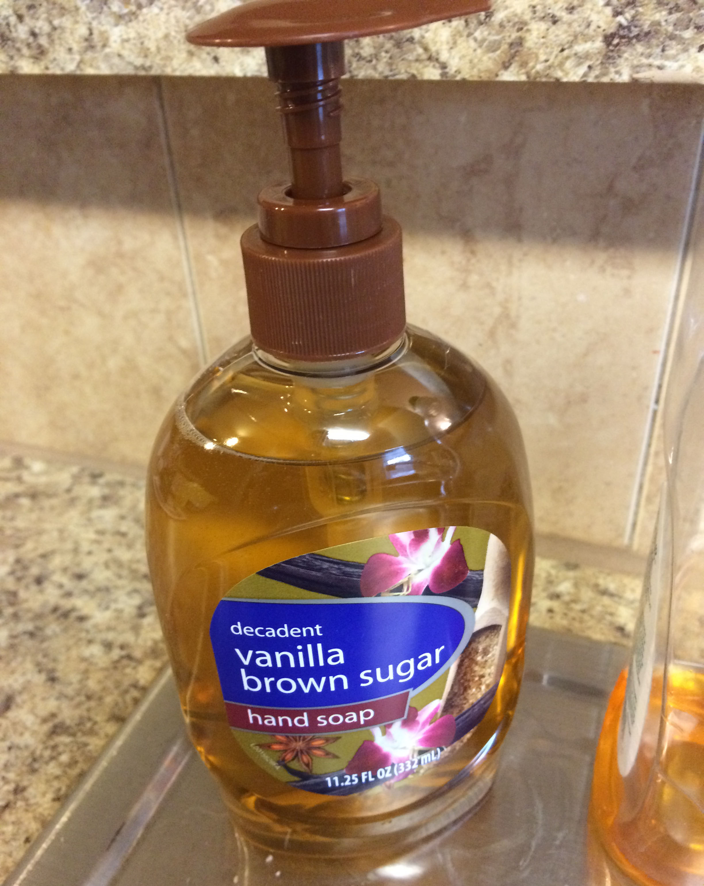 The vanilla brown sugar hand soap that I purchased resting on my kitchen counter.