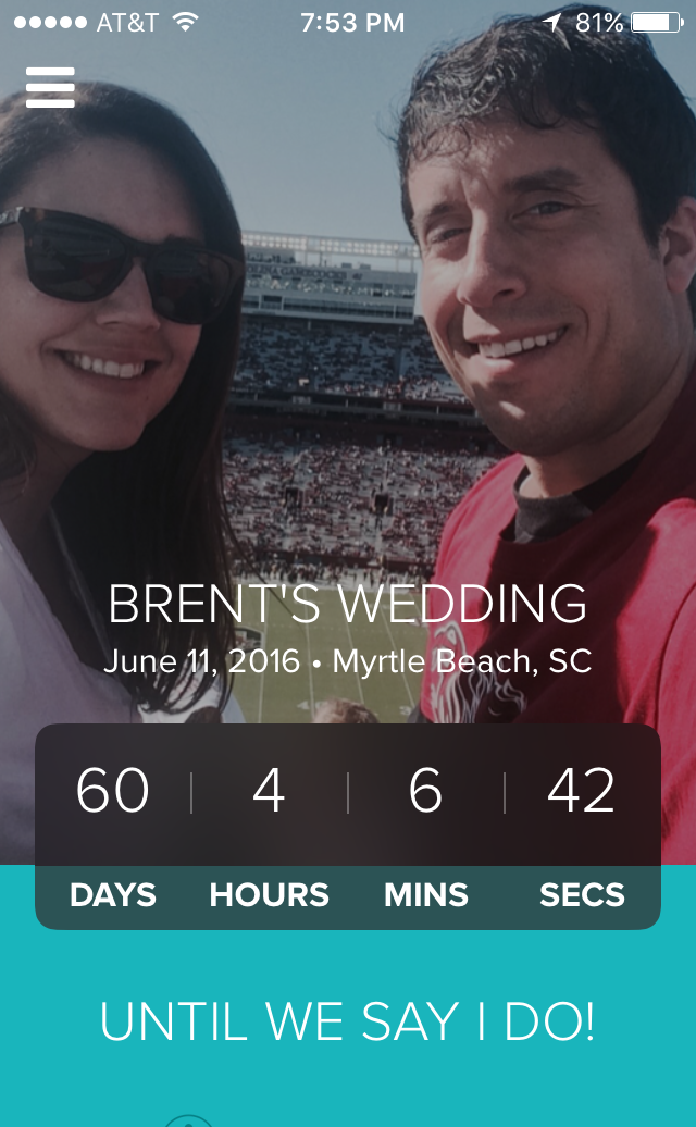 We are just 60 days from our wedding.