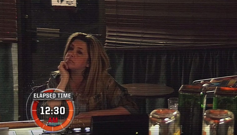 This is the scene where a clock is put on the screen to show the inactivity of Maria. It showed her sitting there for three hours.