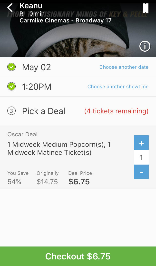 "I never took a screenshot of when I purchased my tickets for ""Criminal"" but here is a similar screenshot I took of a movie that played earlier today. Not bad for tickets and popcorn, huh?"