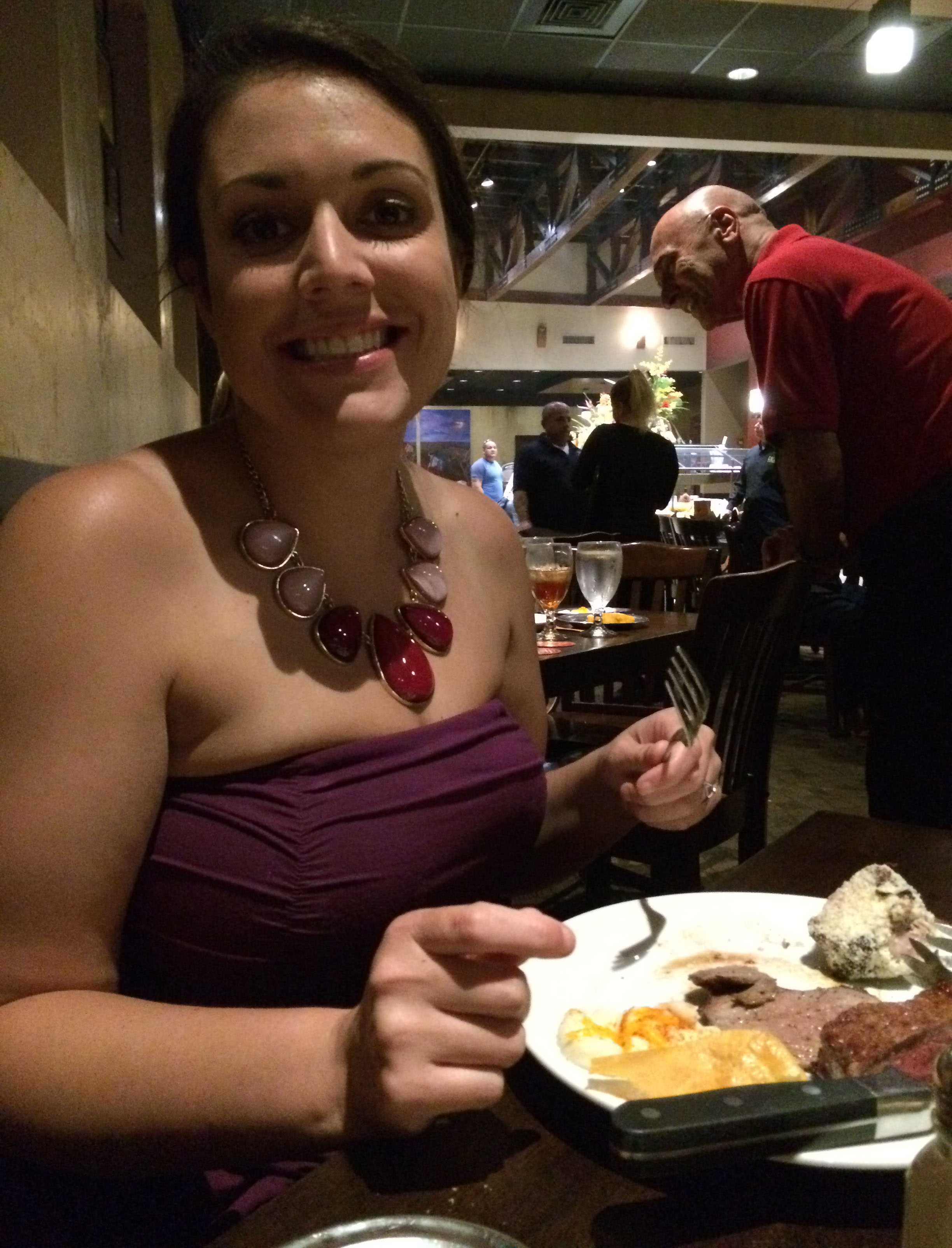 My beautiful fiancé enjoying her dinner at Rioz.