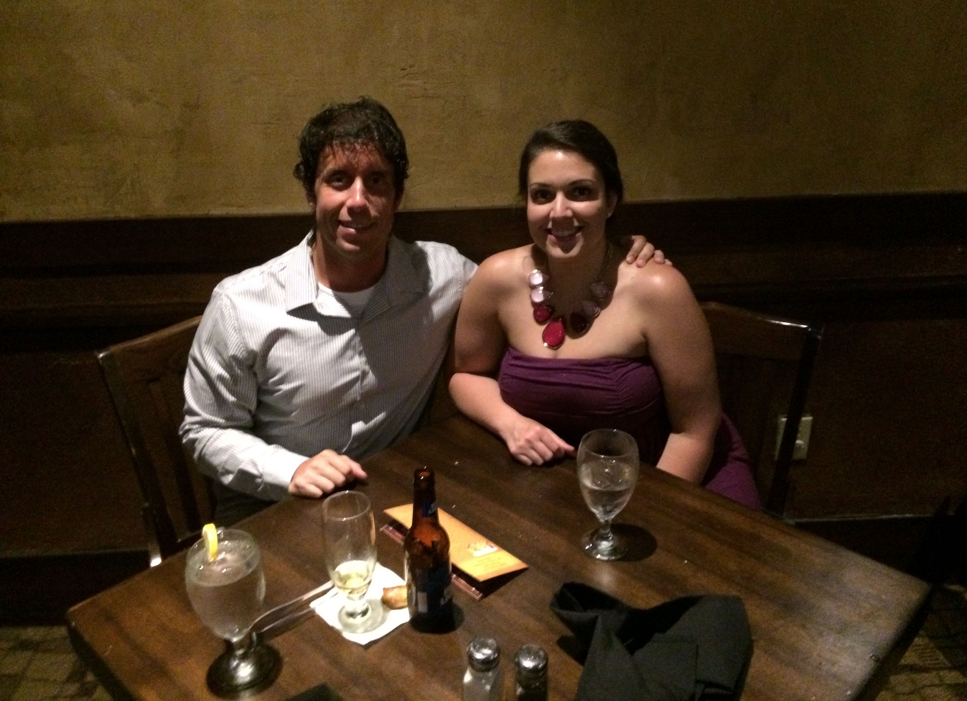 Sidney and I at our table at Rioz.