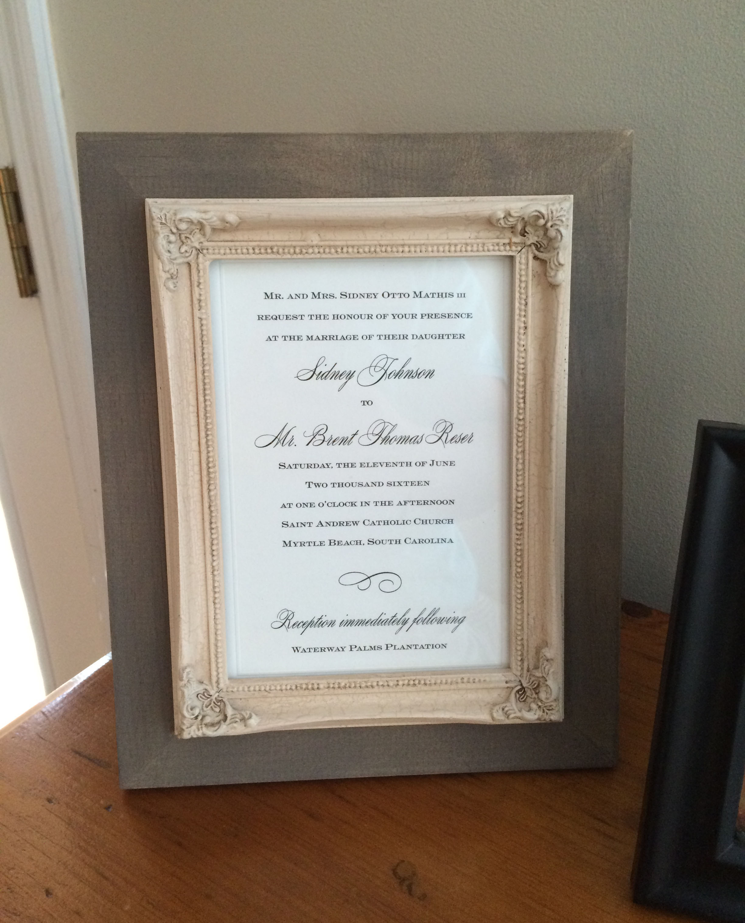 Yesterday in the mail, I received this from my parents. It is so nice to have a framed wedding invitation! Thank you to my parents.