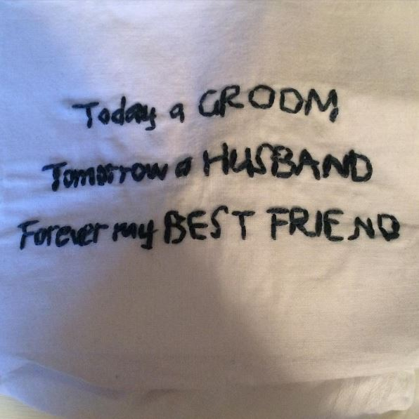 I will keep the note private but this was the handkerchief Sid gave to me the morning of the wedding.
