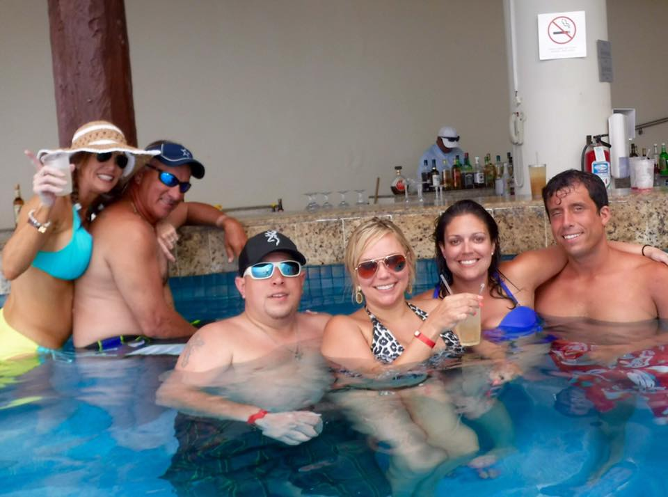 Sidney and I with some of the people we met in Mexico. This is us at the swim up bar (photo credit to Angela).