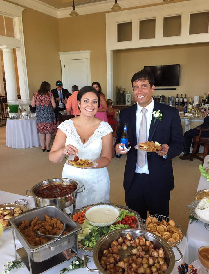 Sidney and I loading up our plates with the delicious food at the reception.