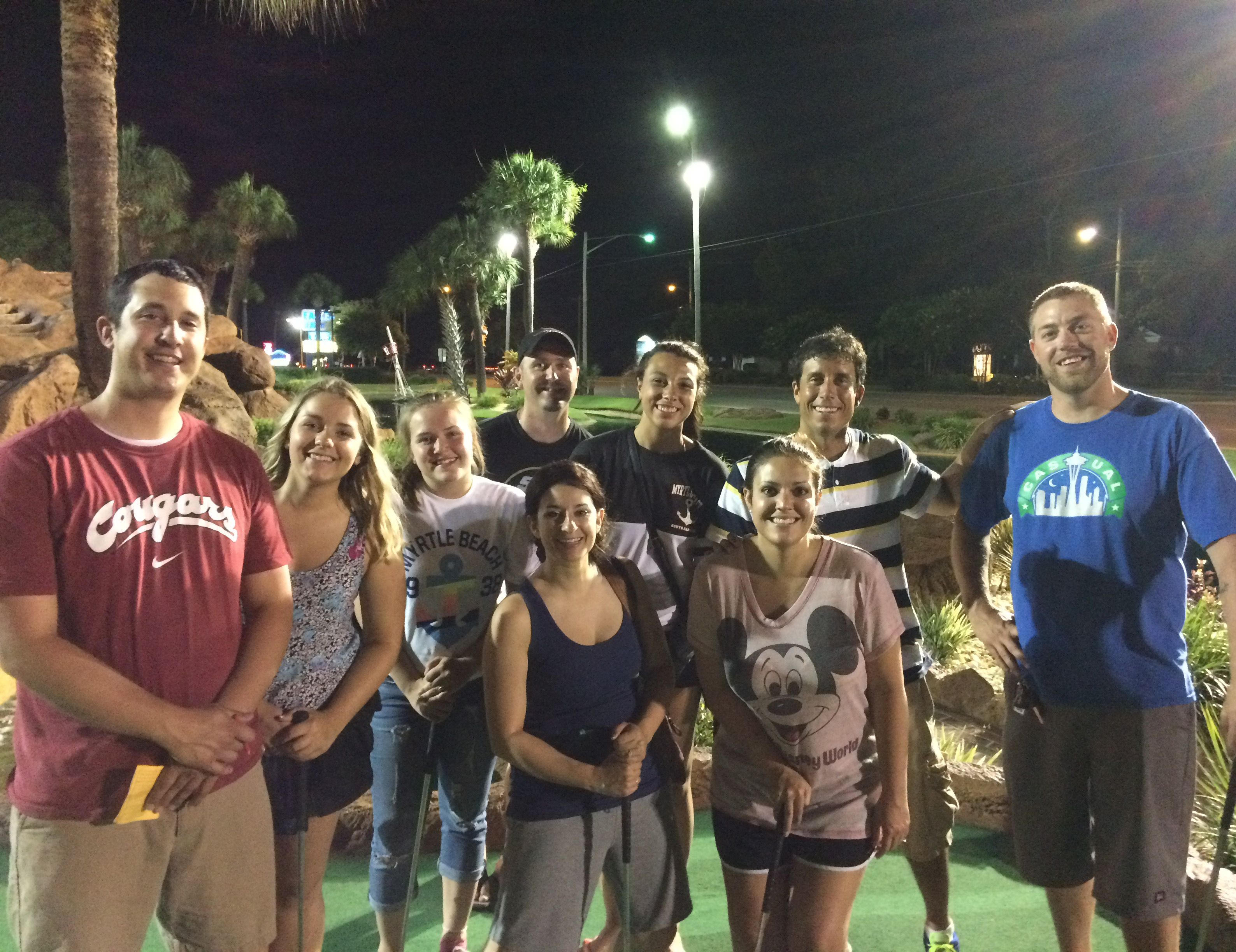 It was so nice having family in Myrtle Beach. On our wedding night, Sid and I played putt putt with this fun group!
