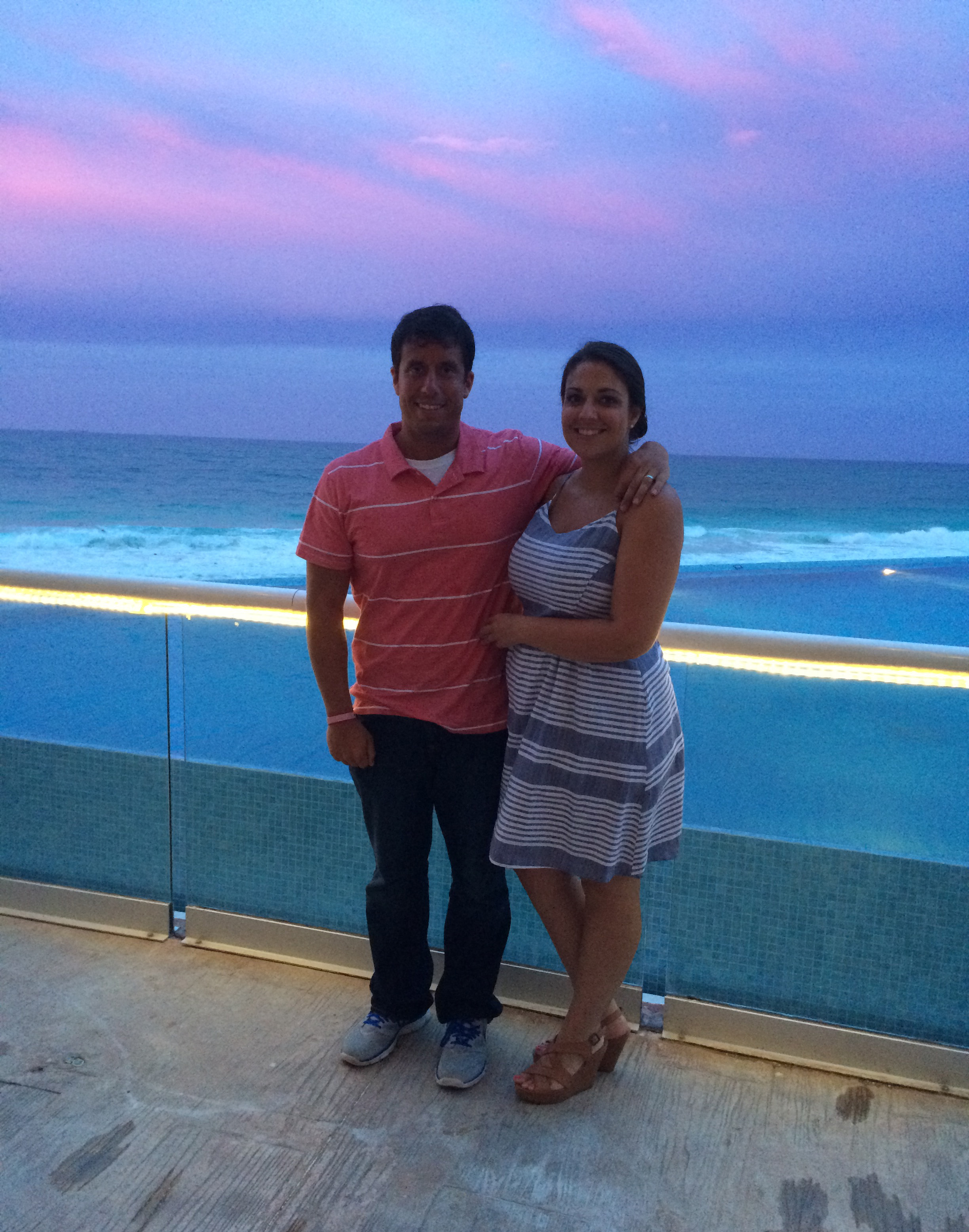 Sidney and I enjoying a Mexican sunset after our romantic honeymoon dinner.