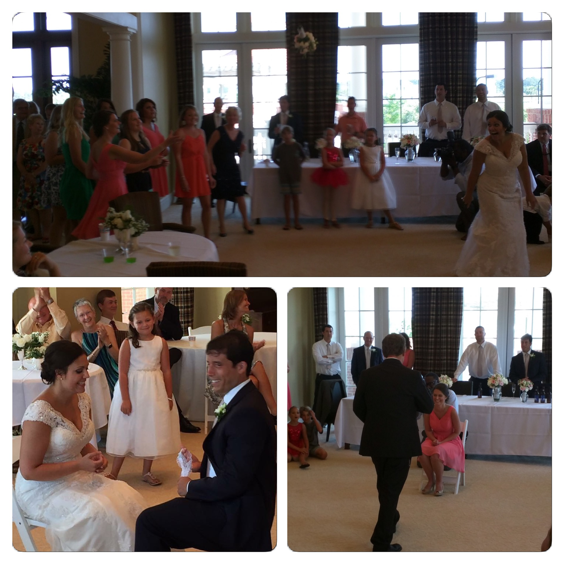 A few of the scenes from the bouquet toss/garter toss.