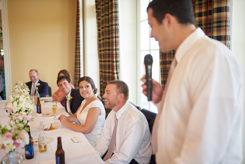 When Glen delivered the best man toast, the camera focused on the reactions of Sidney and I (photo courtesy of Nicholas Gore Weddings Photography).
