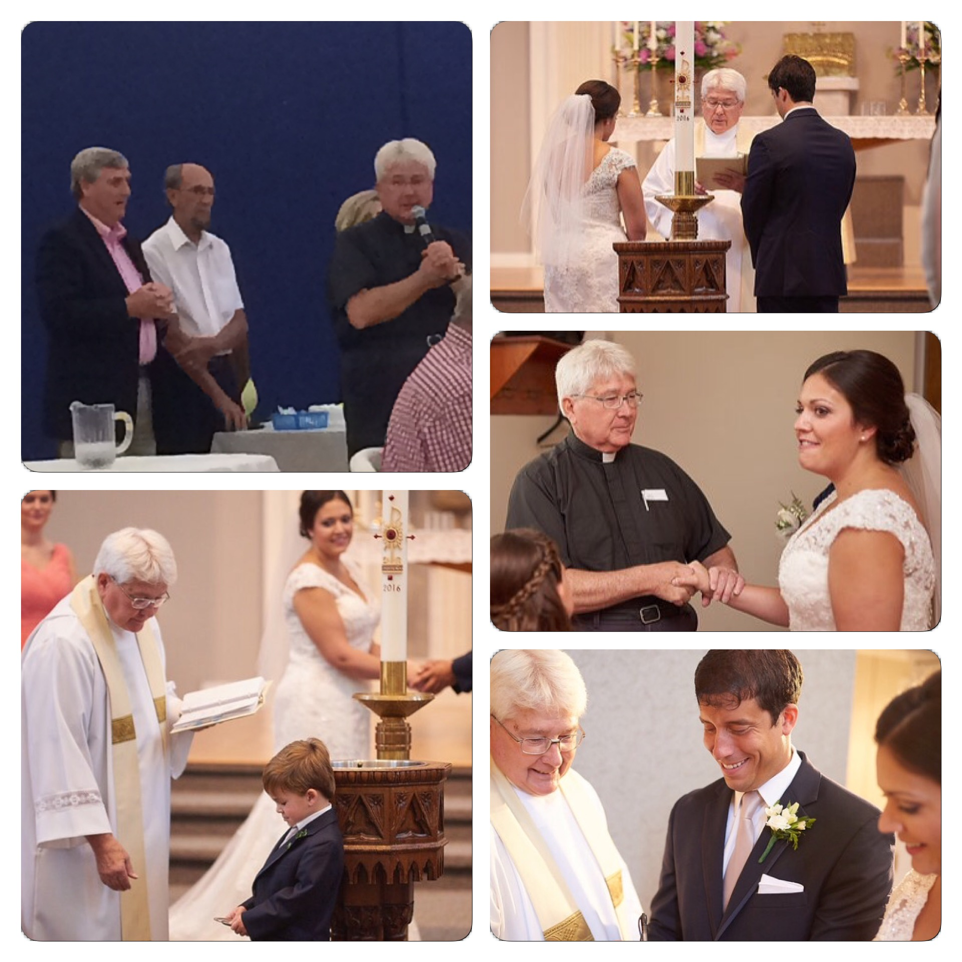 The photo in the upper left hand corner is of Fr. LeBlanc giving his speech at his 20th anniversary of ordination reception that was held last night. The other photos are from our wedding on June 11, 2016.