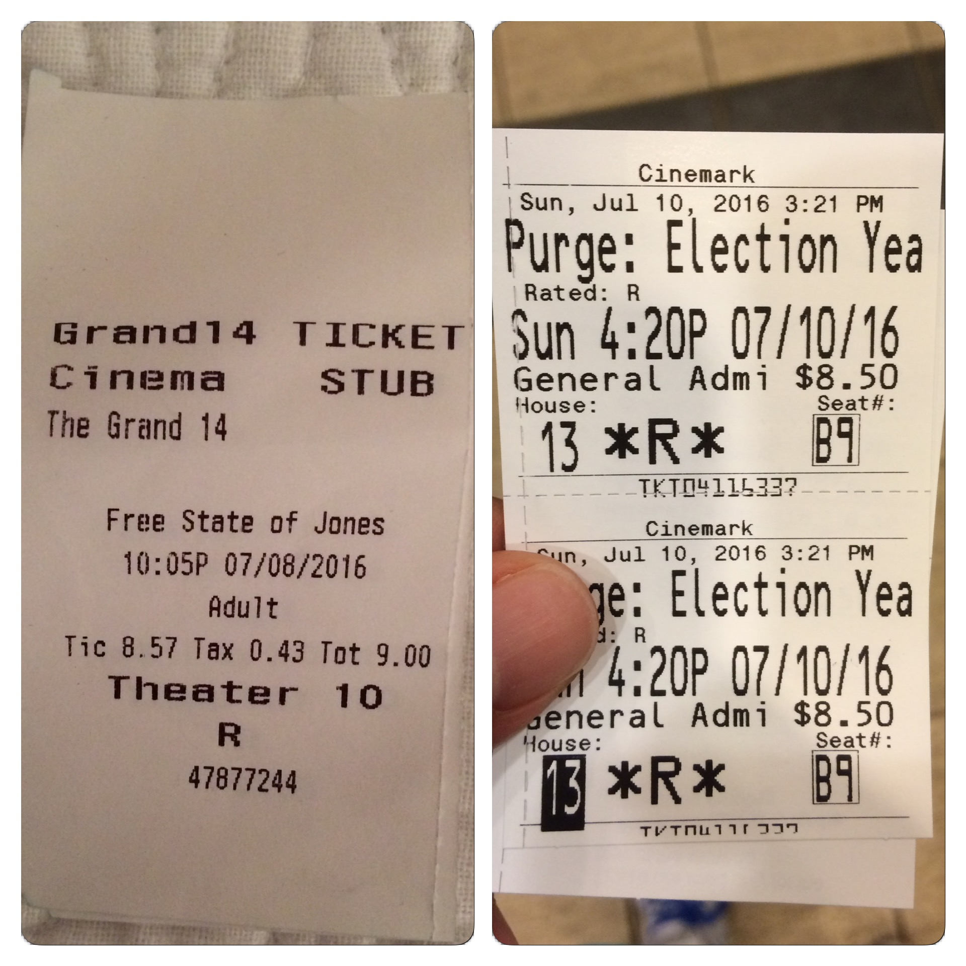 "I enjoyed both ""Free State of Jones"" and ""The Purge: Election Year."""