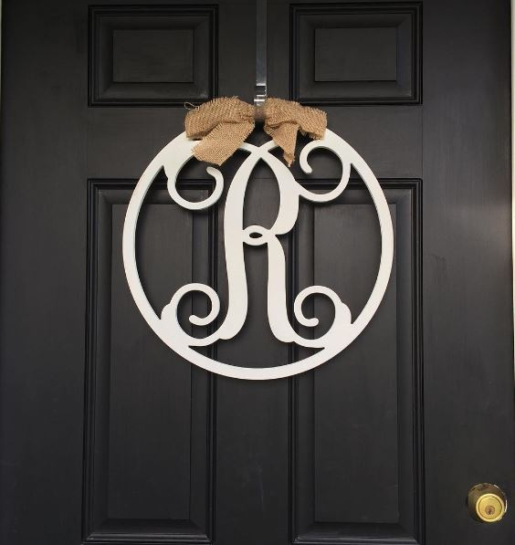 "This ""R"" that Sidney made decorates our front door."