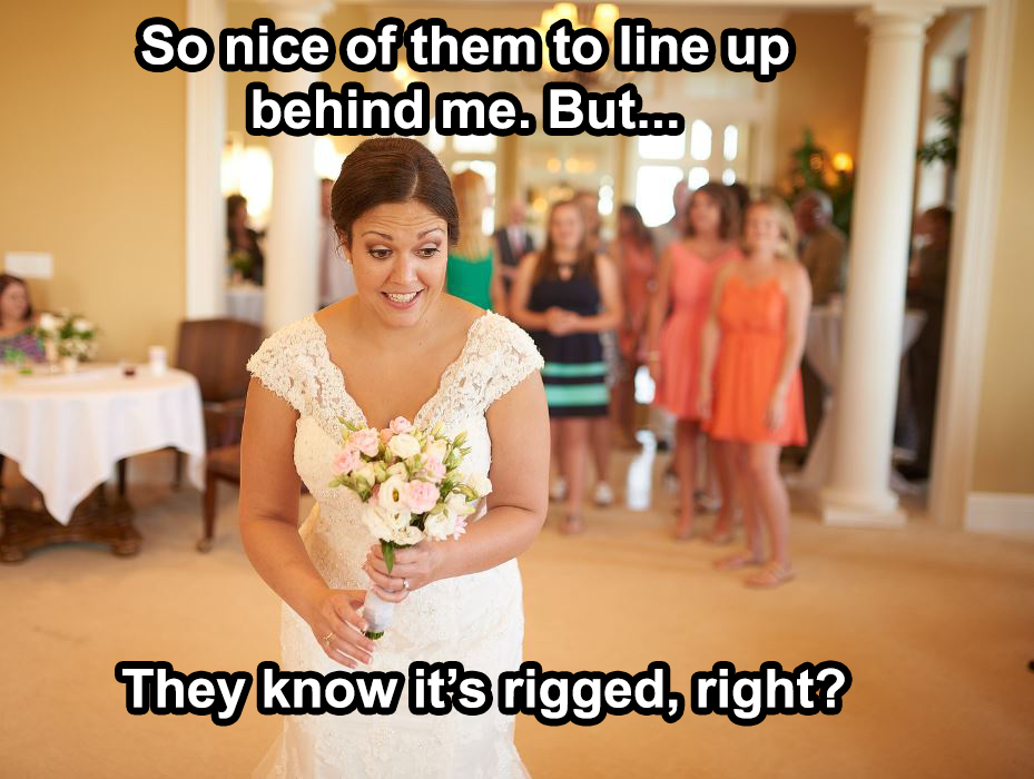 This is a truthful meme. Sid handed off the bouquet to her sister.
