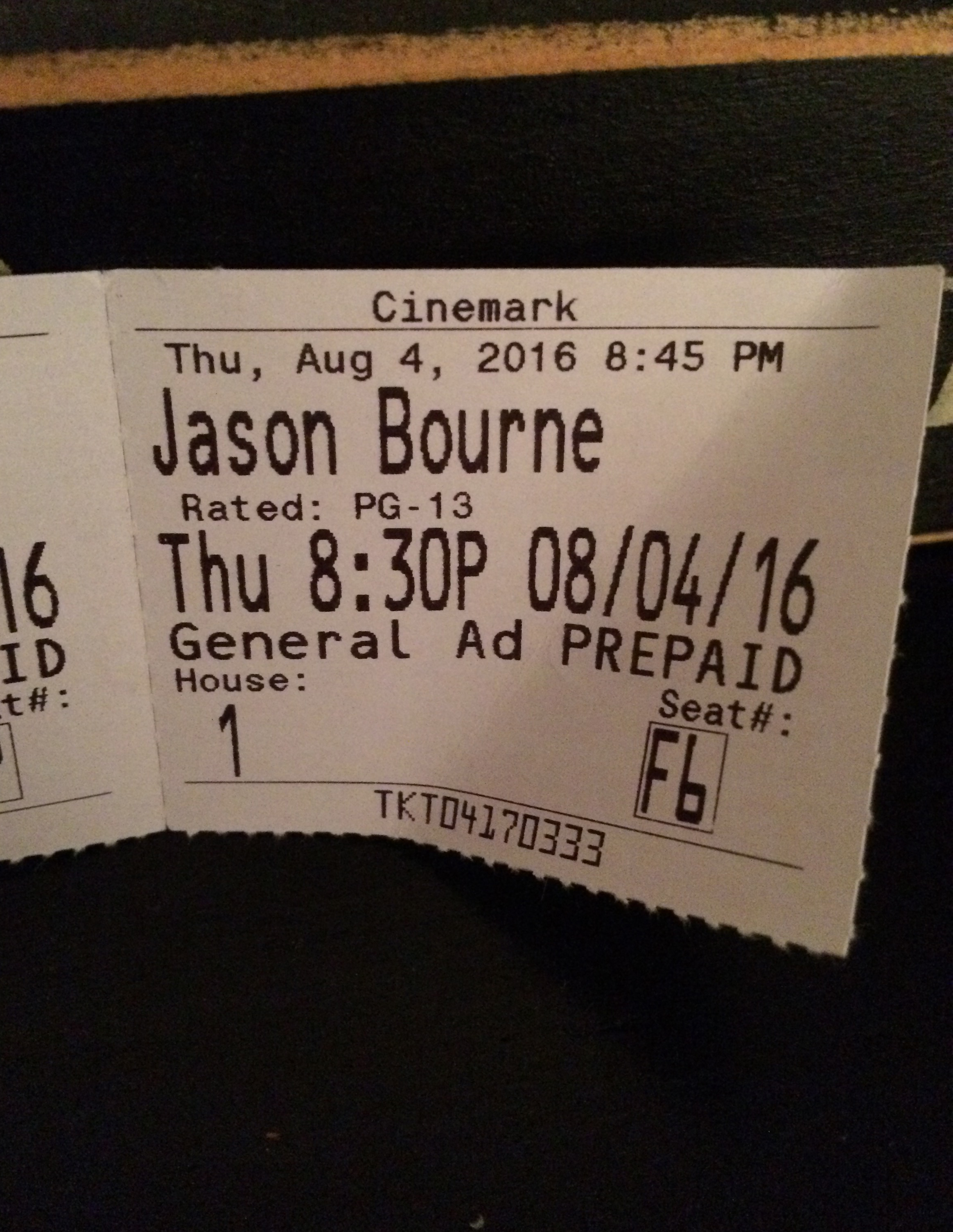 "My movie ticket for ""Jason Bourne."""