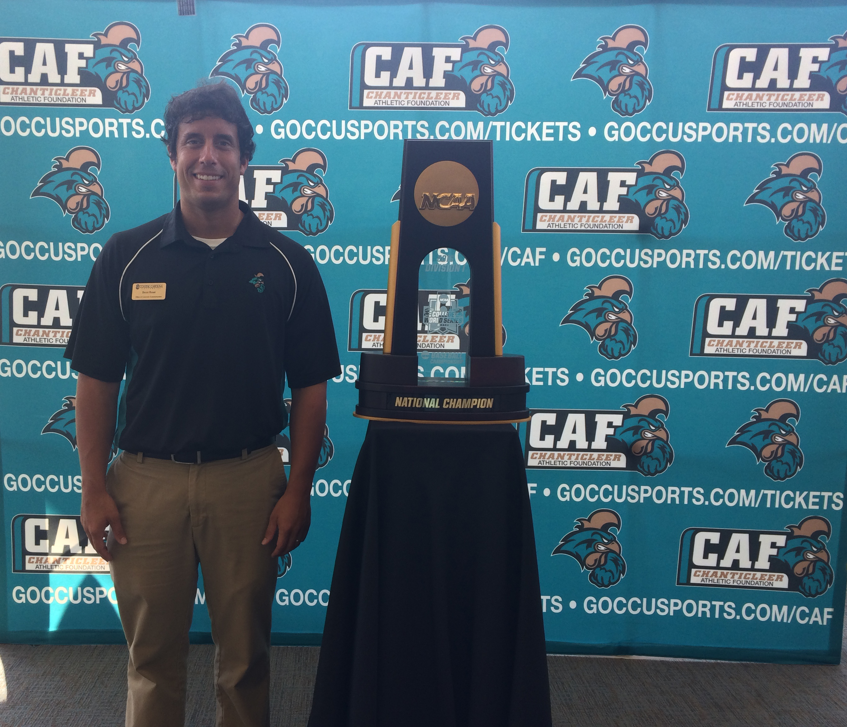 Today I took a photo with the national championship trophy.