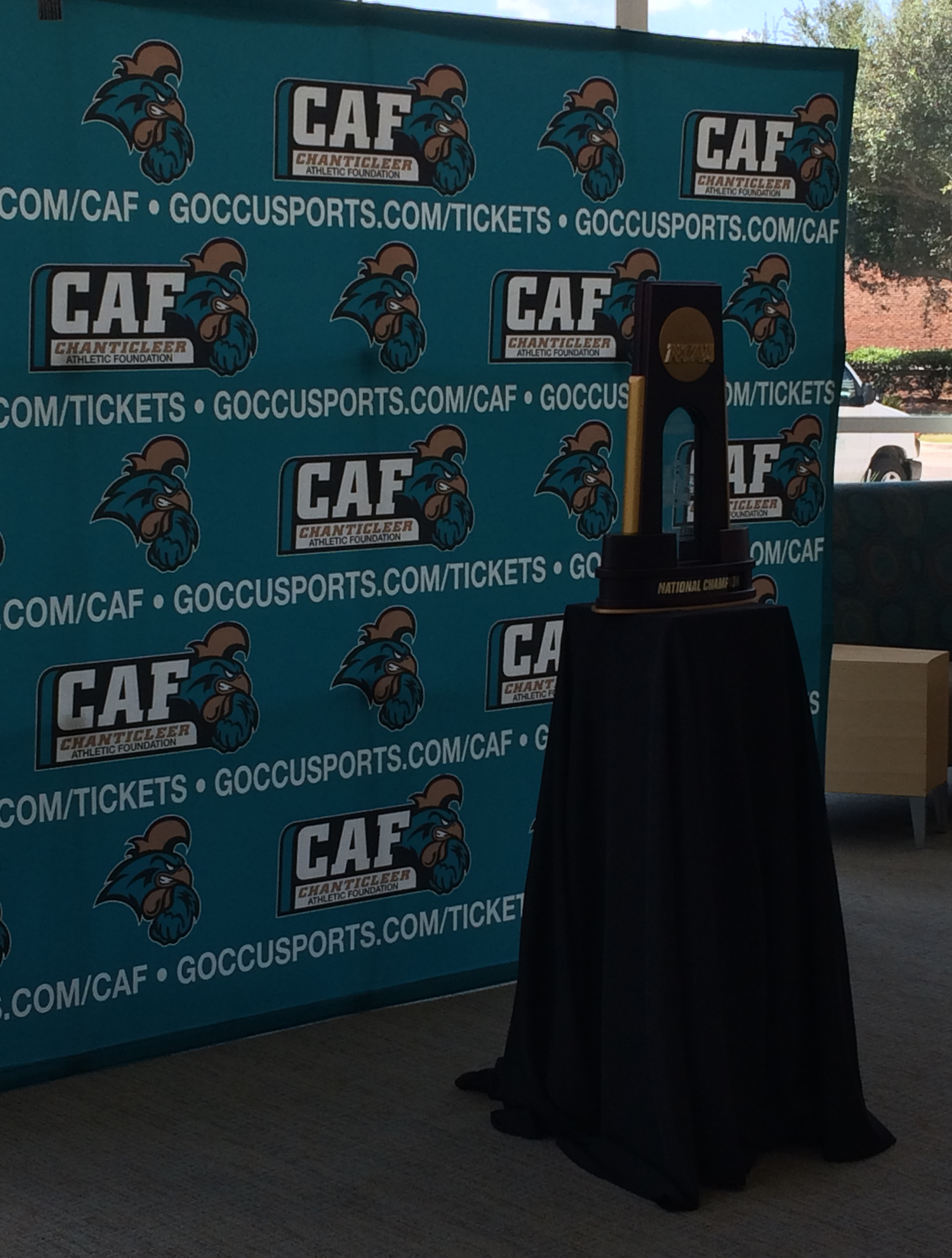 The national championship trophy was available for students and staff to take a photo with today.