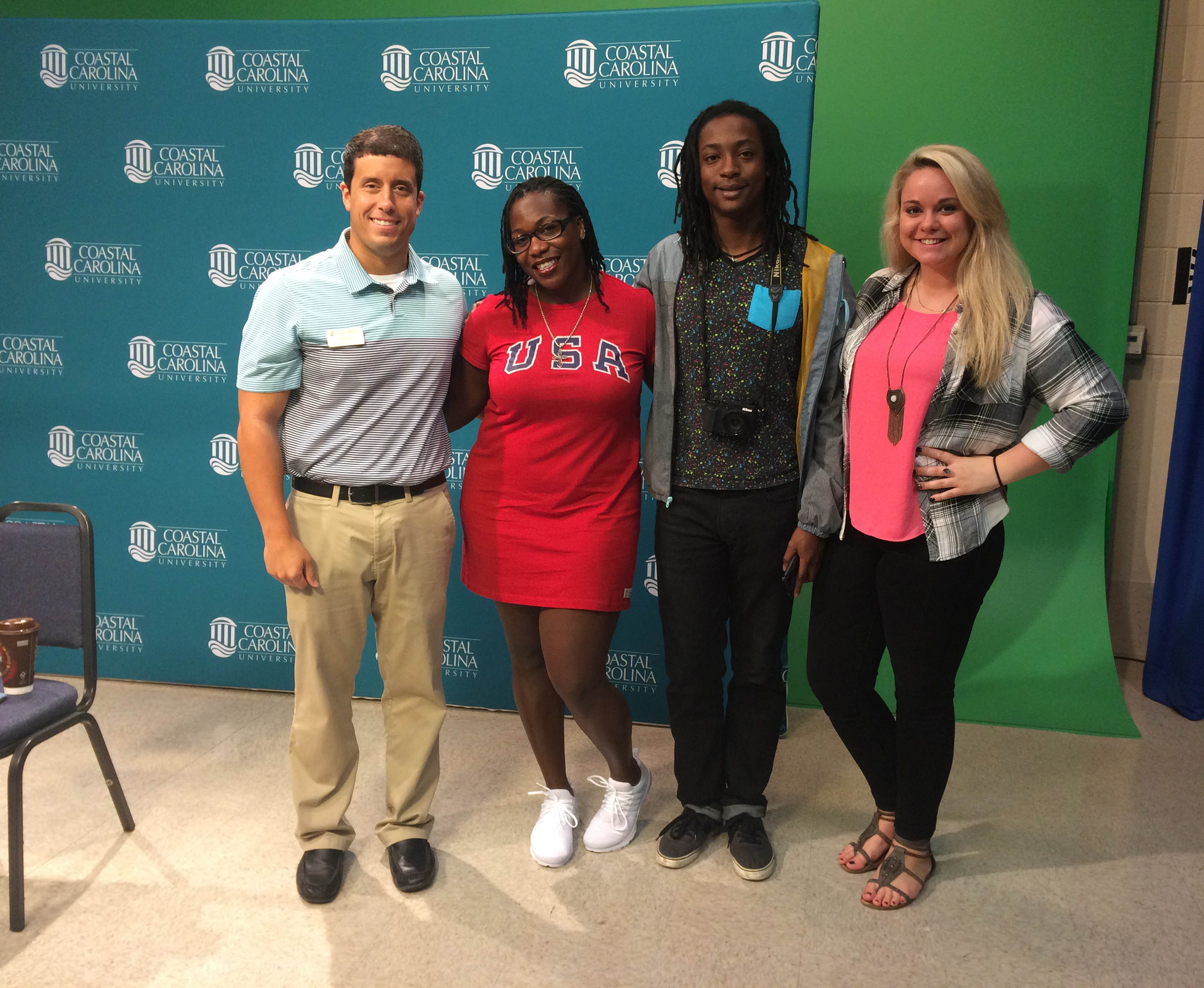 Our social media team with three-time Olympian Amber Campbell today (from l-r: Me, Amber Campbell, Eddie, Lauren).