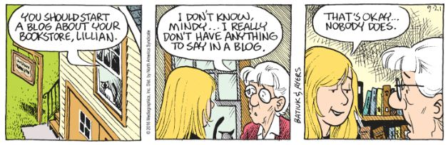 This Crankshaft comic strip had me thinking about what my brother says about my blog.