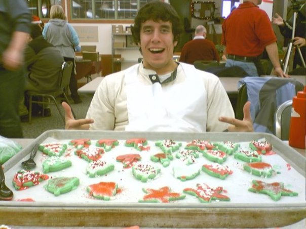 This is me inside the Food Zoo at the University of Montana in 2007. On this day they had a holiday cookie decorating event for the community (which explains why you might see some older people in the background).