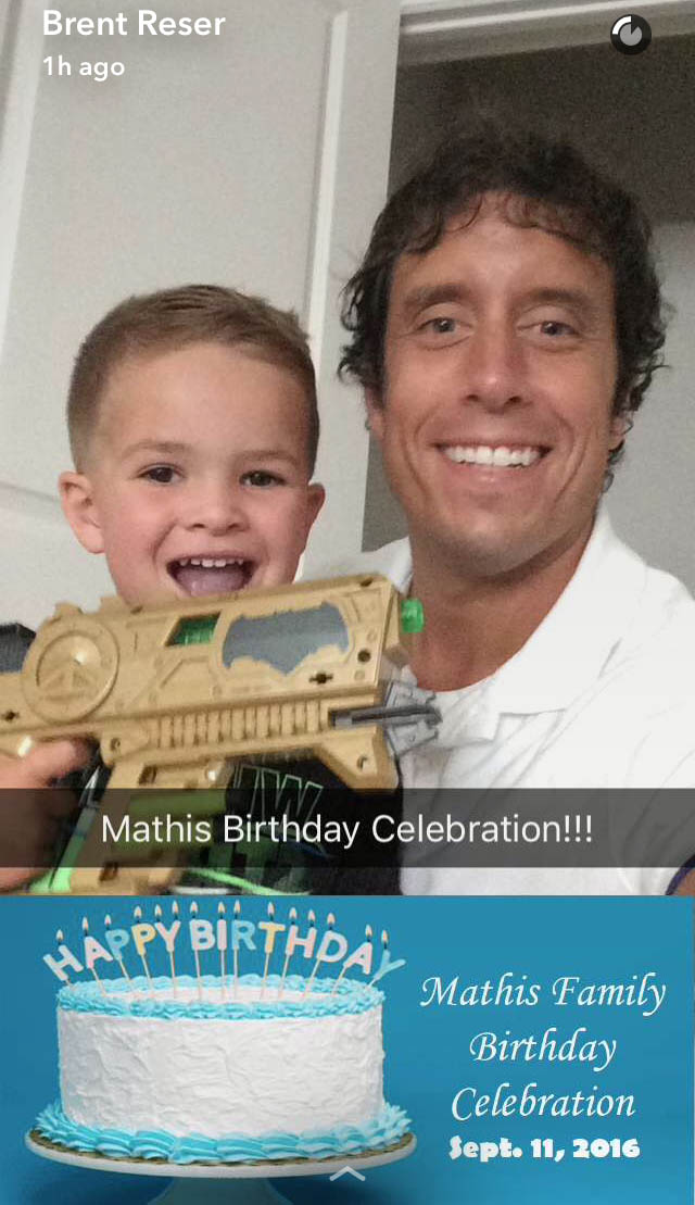 When I went to upload this geofilter, I saw that Snapchat now offers geofilter templates that anyone can use. By the way, I am with my nephew Harrison in this photo.