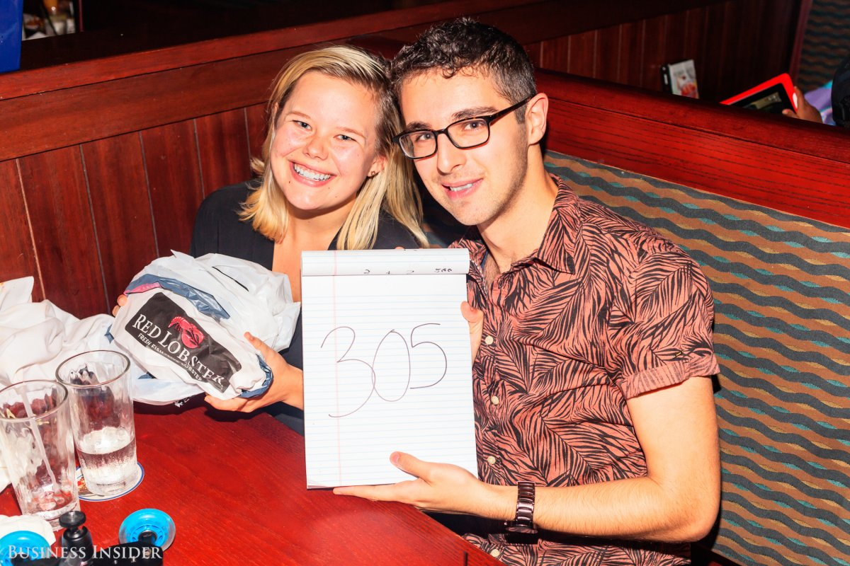 This is Kate Taylor and Hollis Johnson at the Red Lobster they spent eight hours at. They consumed 305 shrimp (photo is courtesy of Business Insider).