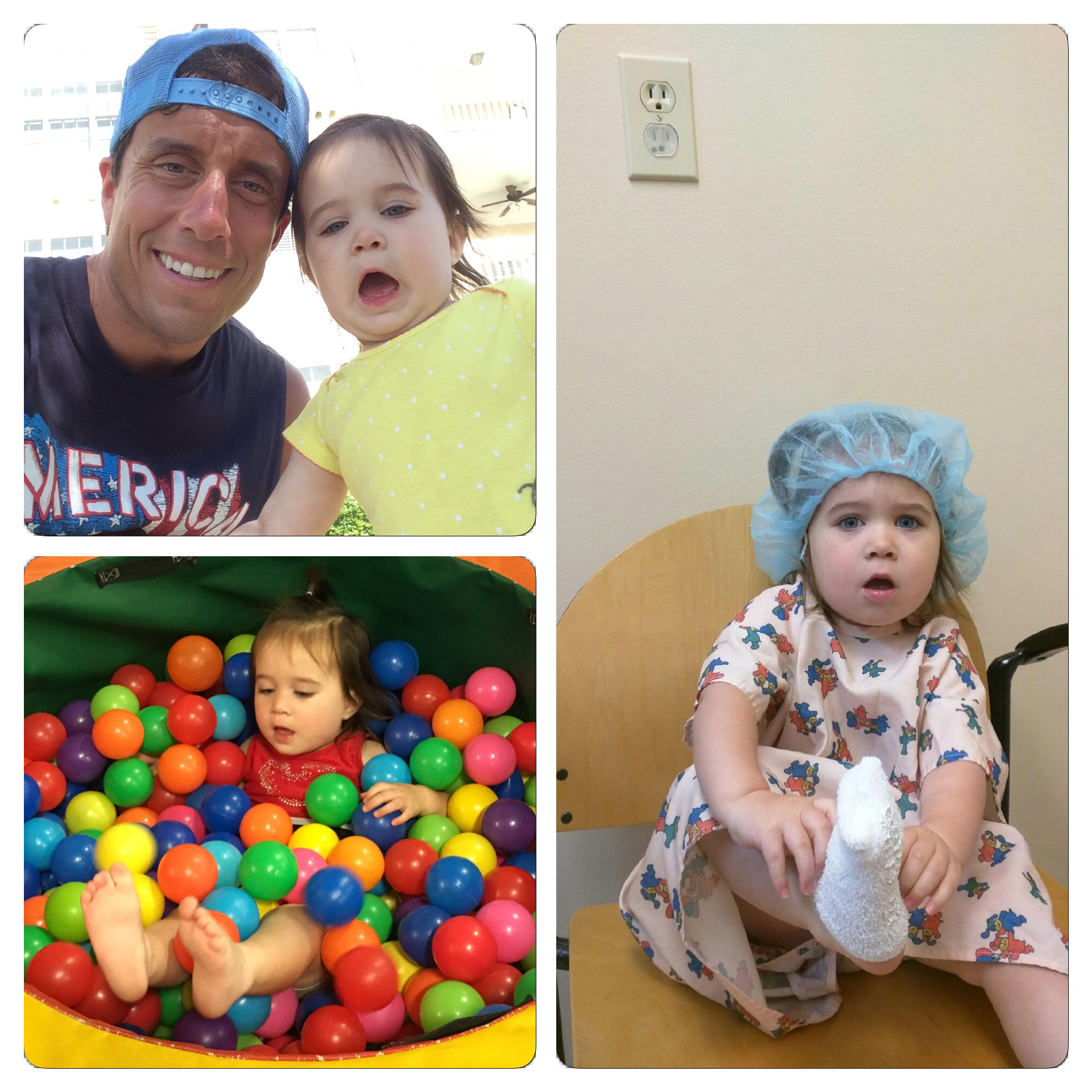 Mikayla will turn two on Monday. The photo in the top left is of her and I when she was in Myrtle Beach in June. The photo on the right is her at the hospital today right before she got tubes put in her ears.