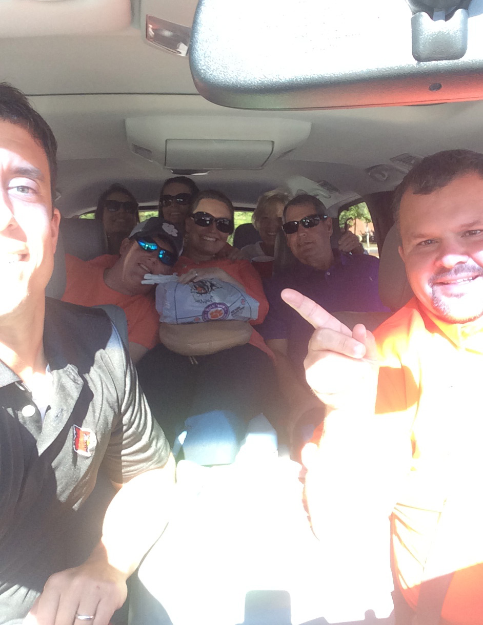 This is all of us piled into one vehicle on our way to the tailgate spot.
