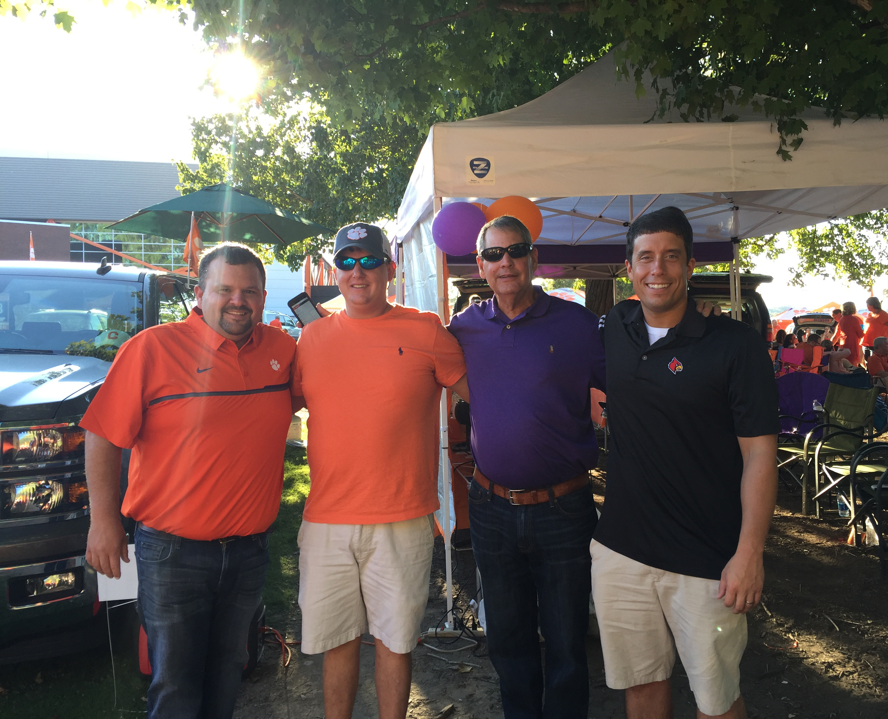 A photo of us guys (L-R: Jon, John Henry, Mr. Sid, Out of Place Guy Wearing Louisville polo).