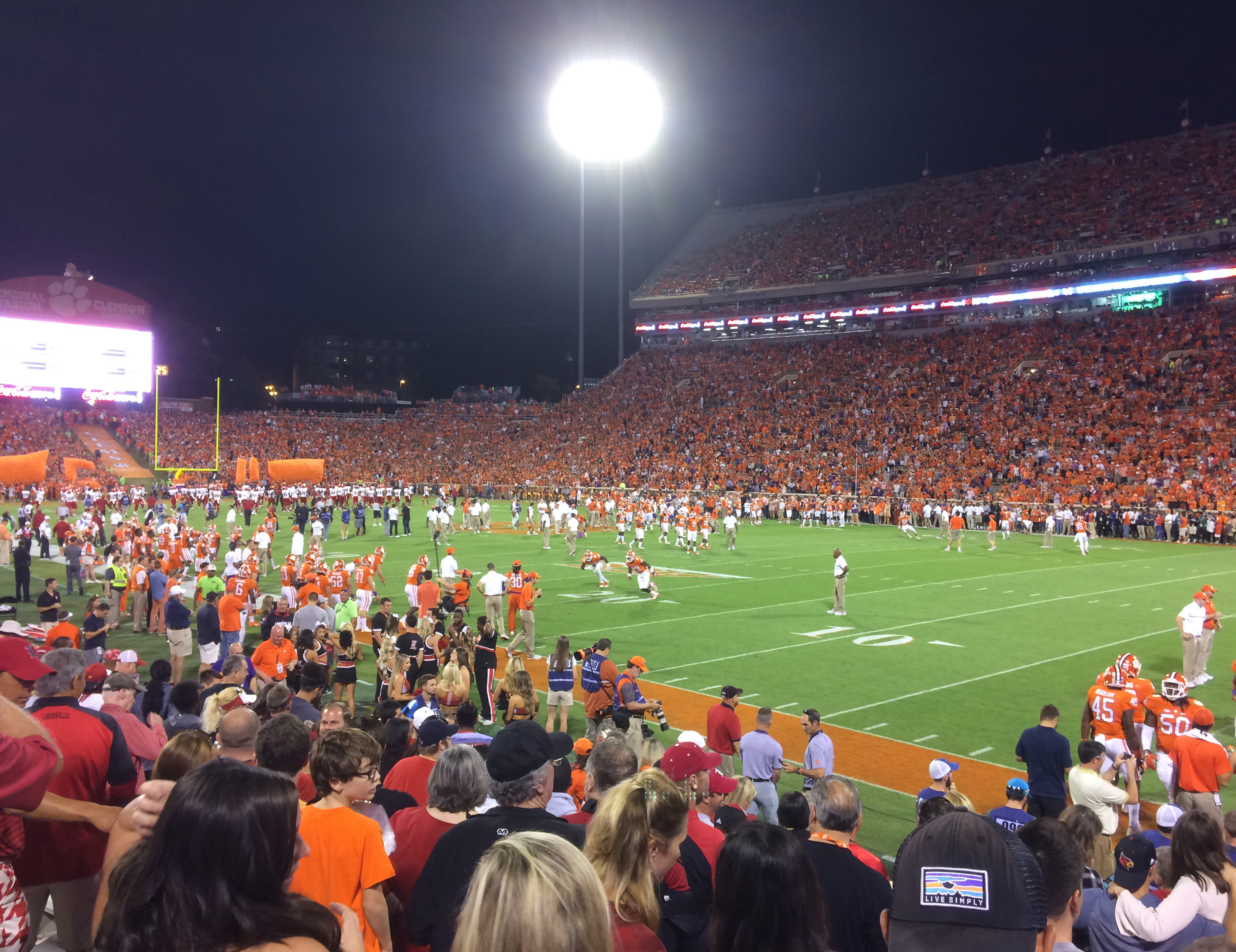 I took this photo as the teams warmed up prior to the 8 p.m. kickoff.