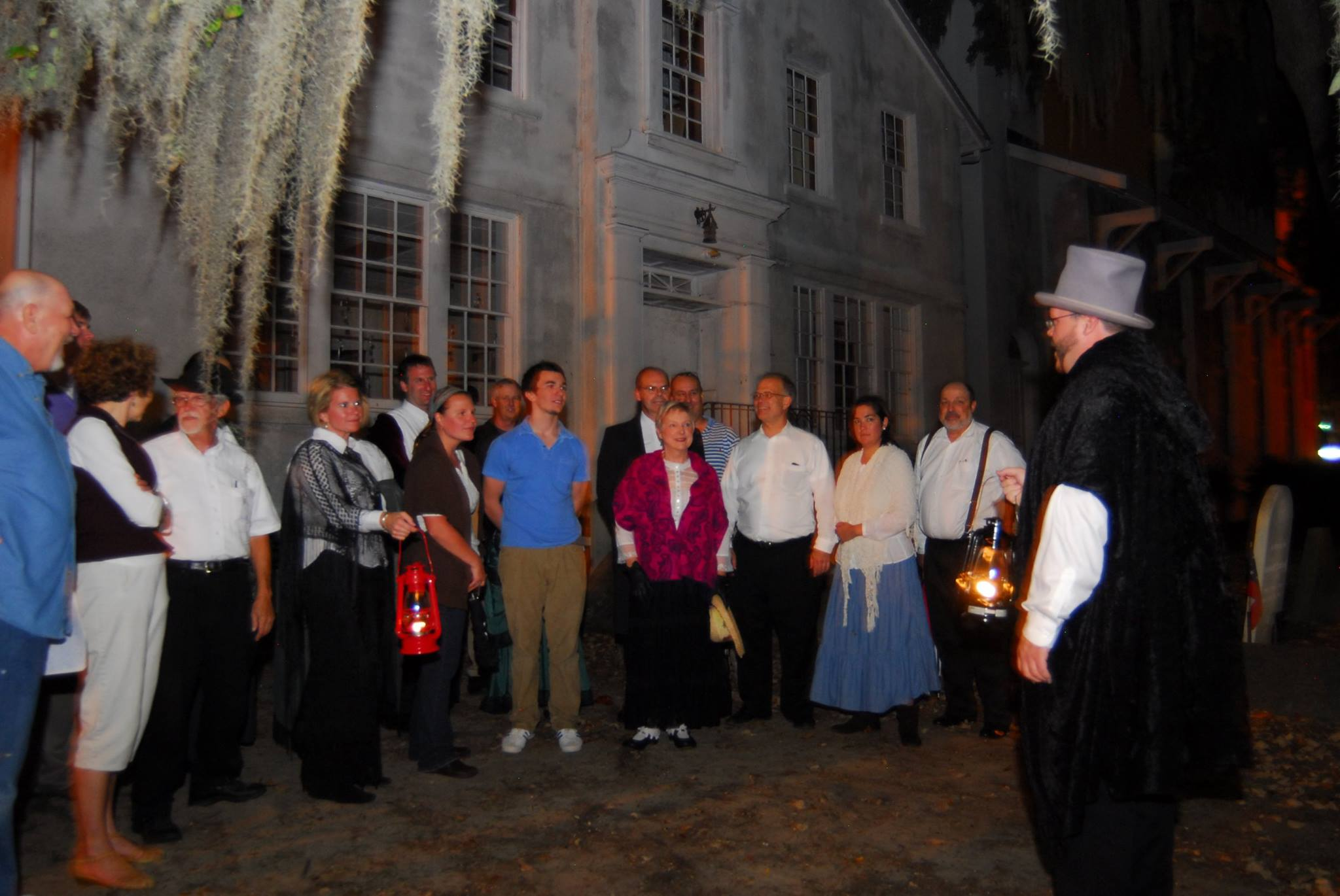 This is one of the stops at the Conway Ghost Walk (we aren't in this photo). People dressed in 1700's clothing tell spooky stories (photo courtesy of the Conway Downtown Alive Facebook page).
